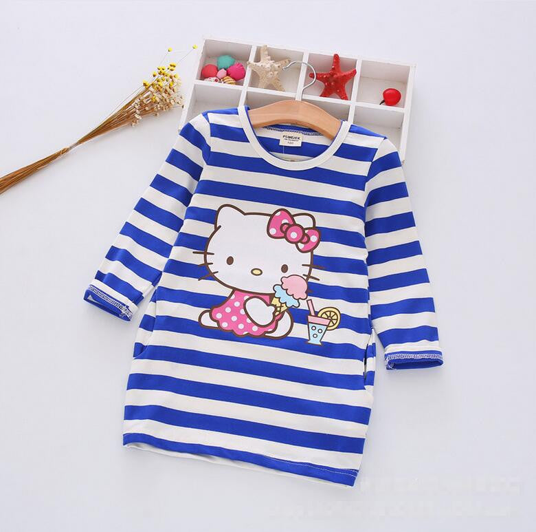 2016 Autumn Girls Dress Hello Kitty Cartoon Kids Dresses For Girl Clothes 2-8Y Children Vestidos Costume Roupas Infantis Menina