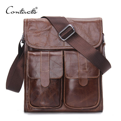 CONTACT'S Genuine Leather Men bags Fashion Brand Designer Handbags Shoulder Vintage Retro Cow Bags Men Messenger Bags Briefcase  dailytechstudios- upcube