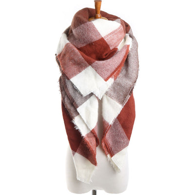 2016 Brand Scarf Square Brown Plaid Artificial Cashmere Warm in Winter Tassel Fashion Shawls For Women  dailytechstudios- upcube