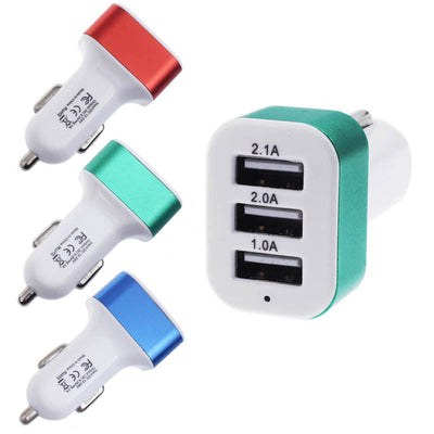 HOT SALE Universal Car charger To 5V 2A 2.1A 1A 3Port USB Charger Adapter For Smart phone  car charger adapter Car-Styling nice
