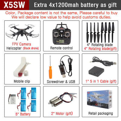 SYMA X5SW FPV RC Quadcopter Drone with WIFI Camera hd 2.4G 6-Axis Dron RC Helicopter Toys With Full Capacity 5 Battery VS H8C