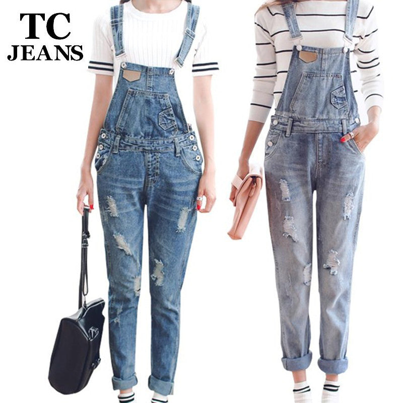 1f13627897d0 TC Womens Jumpsuit Denim Overalls 2016 Spring Autumn Casual Ripped Hole  Loose Pants Ripped Pockets Jeans