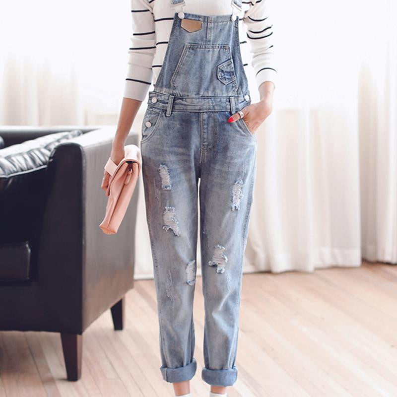 TC Womens Jumpsuit Denim Overalls 2016 Spring Autumn Casual Ripped Hole Loose Pants Ripped Pockets Jeans Coverall XL 2XL WT00194
