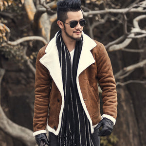 2016 Autumn vintage old leather jacket men wool lining men warm fur collar jacket Mens Faux leather short jacket coat F1055