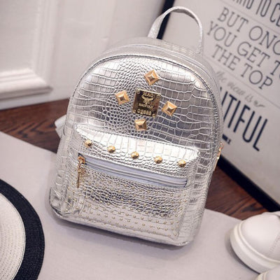 2016 new college wind schoolbag washed leather backpack Women Gold Velvet Small Rucksack Backpack School Book Shoulder  Bag  dailytechstudios- upcube