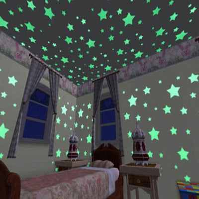 100 pcs/lot Stars Wall Stickers Decal Glow in The Dark Baby Kids DIY Bedroom Home Decor Luminous Fluorescent Wall Sticker DA - upcube