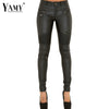 New PU Leather Patchwork Pants Women 2016 autumn Zippers low waist elastic Skinny Pencil Pants Plus Size Slim black Trousers