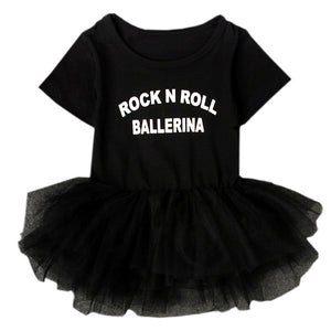 """Rock N Roll Ballerina"" Slogan Black Baby Girl Dress Snap Button Short-sleeve Toddler Kiddie Tutu Costume Lace Clothing NY03QZ"