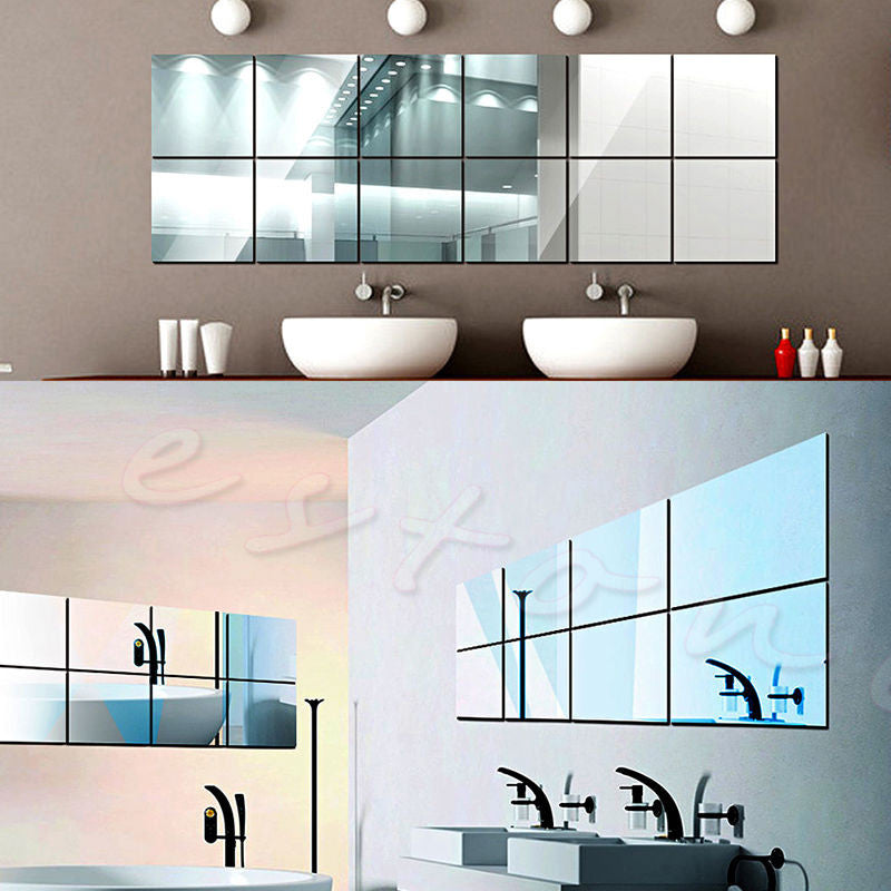 16Pcs Tiles Mirror Wall Stickers Mirror Decor Self-adhesive Decorative Mirrors  dailytechstudios- upcube