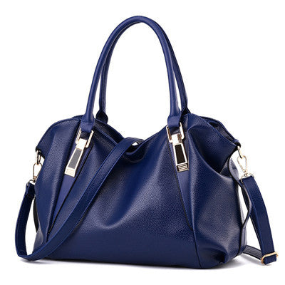 New bag PU high capacity leisure solid color soft  shoulder woman handbag Mobile phone documents