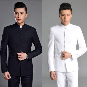 ( Jacket + Pants ) 2017 Top Quality Fashion Brand Men Suits Chinese tunic suit Gray Blazers Slim Custom Fit Tuxedo Prom Groom
