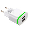 AIXXCO 5V 2A EU Plug LED Light 2 USB Adapter Mobile Phone Wall Charger Device Micro Data Charging For iPhone 5 6 iPad Samsung  dailytechstudios- upcube