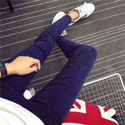 New 2017 Washed Women Imitation Jeans Mujer Stretch Cotton Denim Pants Trousers Boyfriend Plus Size Skinny Jeans Pencil Pants