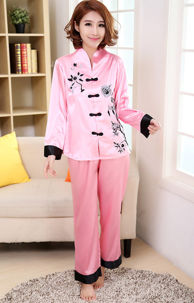 Pink Traditional Chinese Women Silk Pajamas Set Embroidery Pyjamas Suit Home Wear Tang Suit Sleepwear Flower 2PCS M L XL WP002