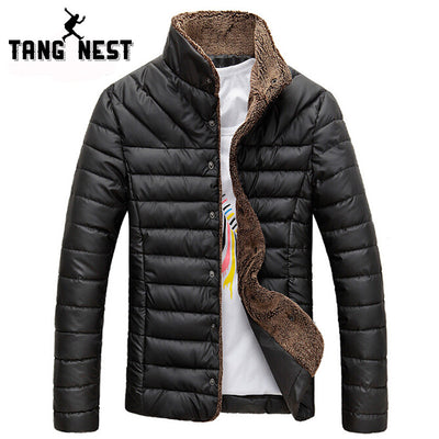 2017 Men Winter Jacket Warm Casual All-match Single Breasted Solid Men Coat Popular Coat For Male Black Color Size M-3XL MWM432