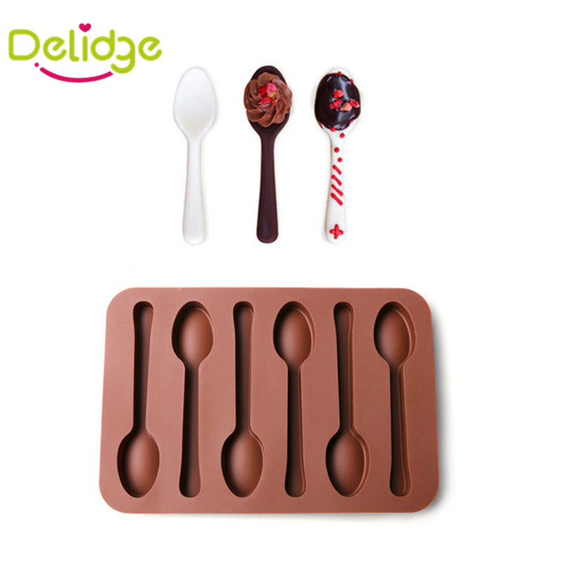 1 pc 6 Holes Spoon Shape  Chocolate Mold Silicone  DIY Cake Decoration Mold Jelly Ice Baking Mould Spoon Design Cake Moulds - upcube