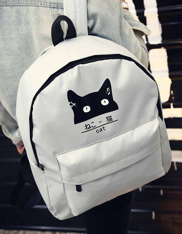 2017 New Japanese Cat Backpack For Women School Canvas Teenage Girl Couple Cartoon Backpack Mochila Escolar Women Backpack