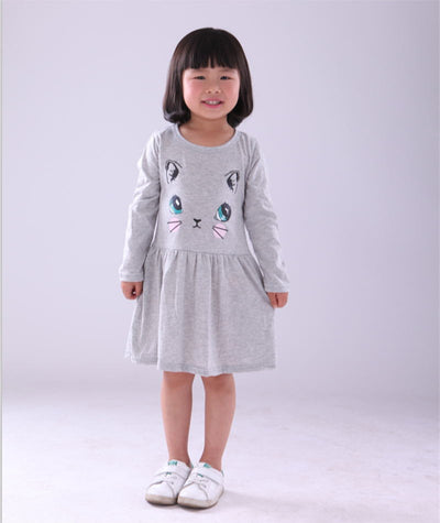 2016 New Arrival spring and autumn girl dress cat print grey baby girl dress children clothing children dress 1-8years