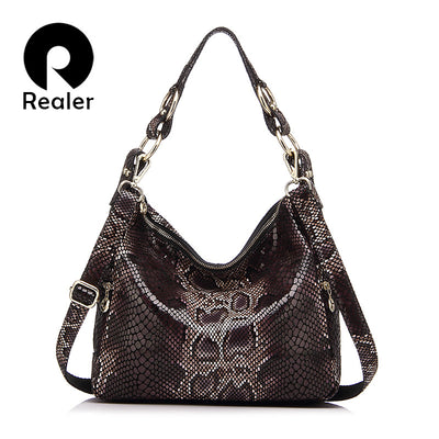 REALER brand women handbag genuine leather tote bag female classic serpentine prints shoulder bags ladies handbags messenger bag