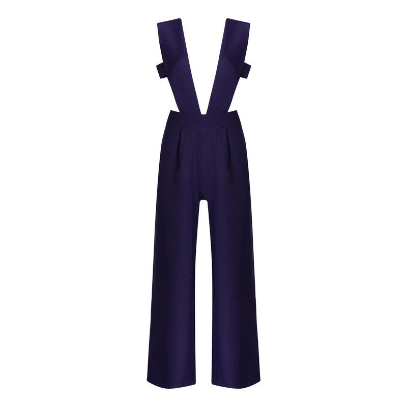 (IN STOCK!!)Sexy Jumpsuit for Women 2016 Clubwear Navy Hollow Out Elegant Wide Leg Jumpsuits