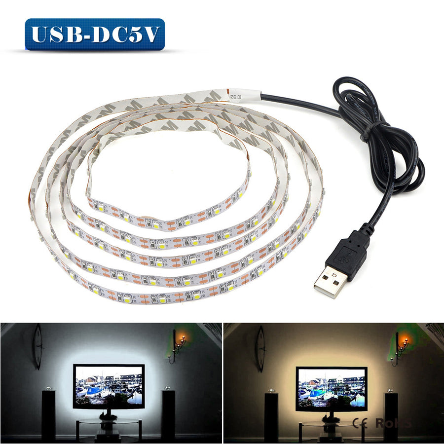 LED Night Light String DC5V With USB Port Cable  50CM 1M 2M 3M 4M 5M USB LED strip light lamp SMD 3528 for TV/ PC/ Laptop