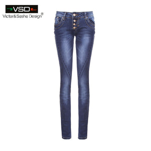 2016 AutumnTop New Hot Sale STRETCH JEANS Pencil Ripped Skinny Jeans Woman Fashion Slim Blue Low Waist Women's Slim Denim Pants