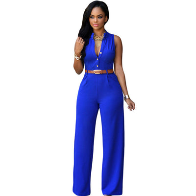 Elegant Fashion Sexy Jumpsuits Ladies Loose Slim Casual Party Overalls Long Pants Women Sleeveless Night Club Rompers With belt