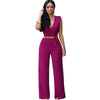11 Colors Fashion Women Sleeveless Maxi Overalls Belted Wide Leg Jumpsuit Plus Size Macacao Long Pant Elegant Jumpsuits S2617