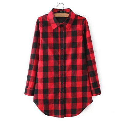 2016 Fashion Red plaid print long blouse feminine shirt Winter casual blusas plus size women tops Autumn outwear Chemise Tops