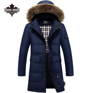 Winter Warm Hooded Men Down Jackets Casual X-Long Duck Down Coats & Jackets  Thicken Outwear Casual Solid Parkas Plus Size 4XL