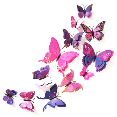 12pcs/lot Butterfly Wall Stickers Double Layer 3D Butterflies colorful bedroom living room Home Fridage Decor 4 color DA  dailytechstudios- upcube