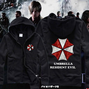 2015 Winter Umbrella Resident Evil Hoodies Men Black Casual Zippered Hooded Sweatshirt Premium Brand Clothing Free Shipping