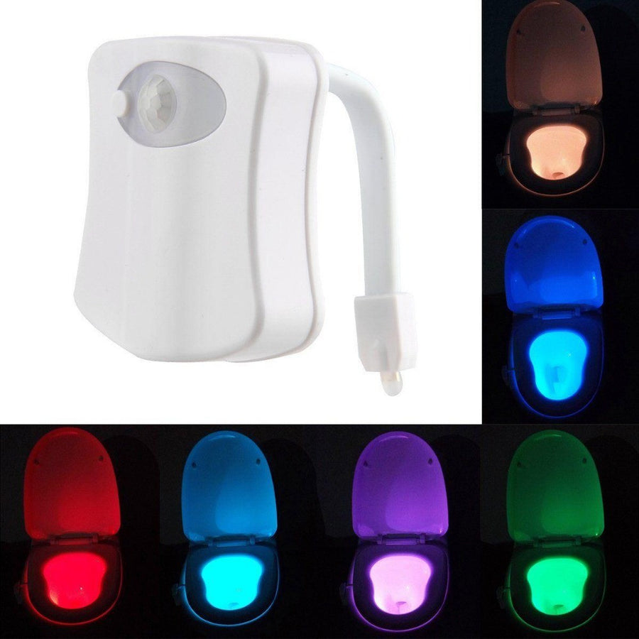 Human Motion Sensor LED Night Lights  Auto 8 Color Light Control Toilet Light Washroom Bathroom lamp Kids AAA Batteries Powed