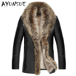 2016 Men's Leather Jacket Lambswool Genuine Leather Jacket Men Thick Raccoon Fur Collar Jaqueta Couro Masculino Plus Size HJ509