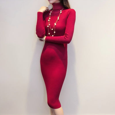 2017 new arrive women autumn and winter sweater dresses slim Turtleneck long knitted dress sexy bodycon robe dress D019