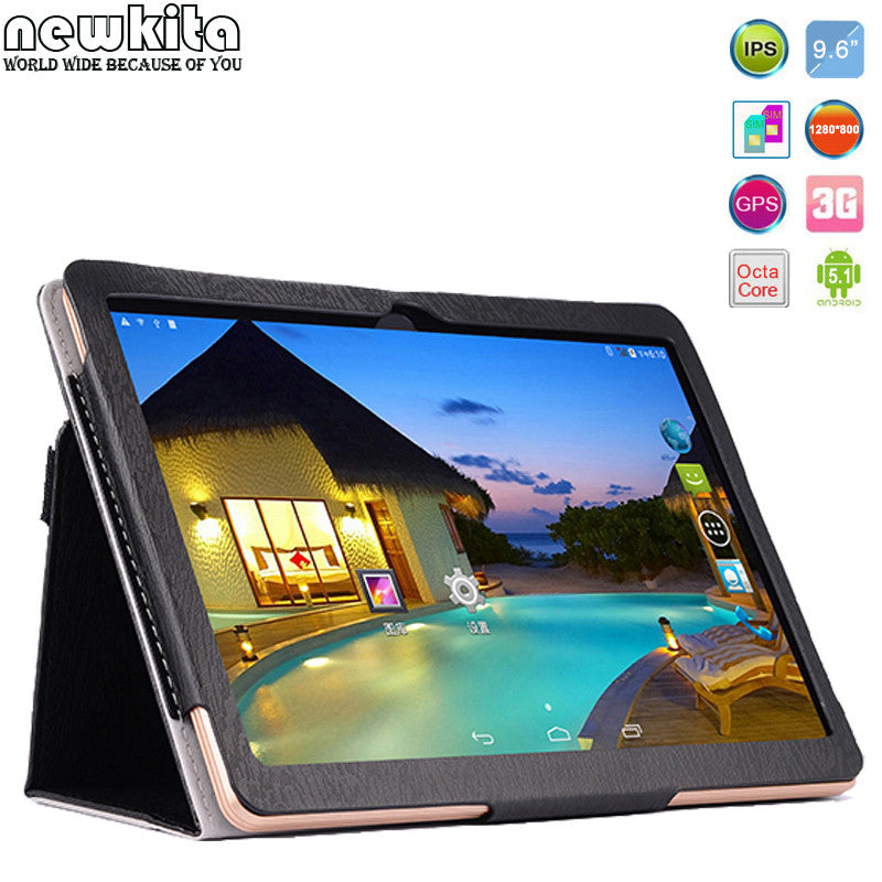 "Newkita 9.6"" Octa Core 3G Tablet Android 5.1 RAM 4GB ROM 32GB 5.0MP Dual SIM Card Bluetooth GPS Tablets 7 9 10.1 Flip Case Free"