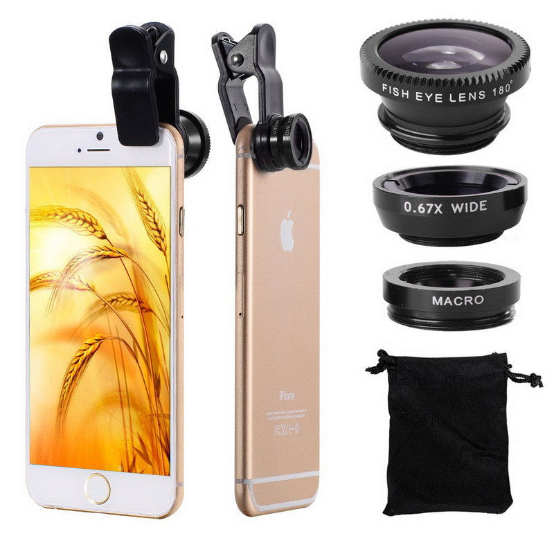 3 in 1 Wide Angle Macro Fisheye Lens Universal Camera Mobile Phone Lenses Fish Eye Lentes For iPhone 6 7 Smartphone Microscope  dailytechstudios- upcube