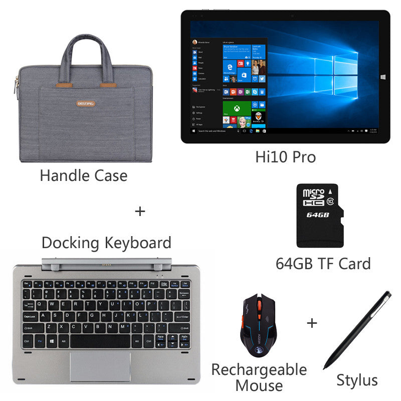 "10.1"" Chuwi Hi10 Pro Dual OS Tablet PC Quad Core Intel Z8350 Windows 10+Android 5.1 4G RAM 64G ROM IPS 1920*1200 Type-C 3.0 HDMI - upcube"