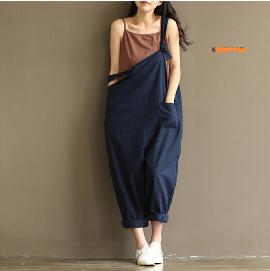 Navy Blue Sexy Overalls Women Casual Large Size Jumpsuit Clothes Rompers Summer Autumn 2017 Cotton Linen Wide Leg Pants Y126