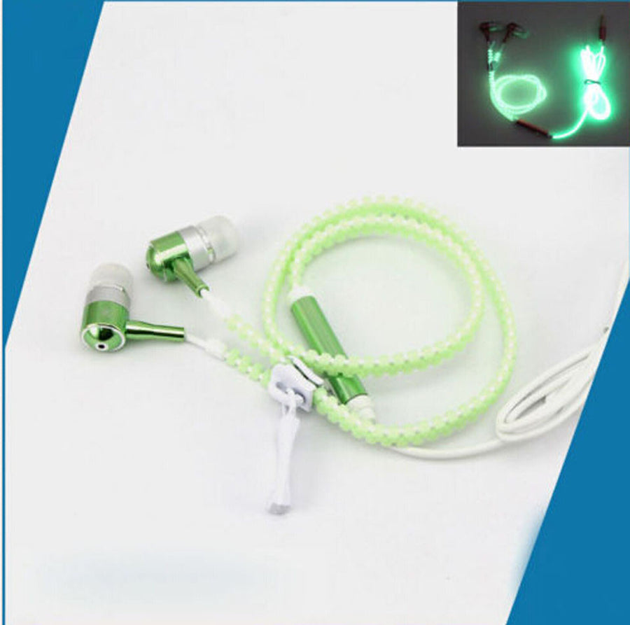 MoreBlue K5 Glow Earphones Sport Earpieces Metal Zipper Glowing Headset Luminous Night Light Stereo Bass Headphones With Mic