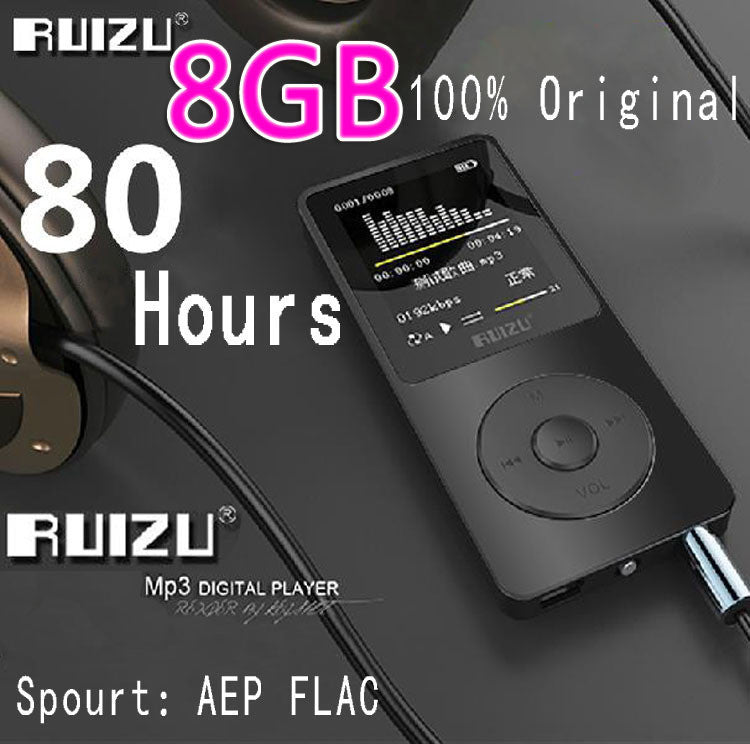 100% Original RUIZU X02  MP3 Player  With 1.8 Inch Screen Can Play 100 hours, 8gb With FM,E-Book,Clock,Data - upcube