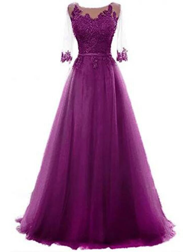 R14 Free Returns Elegant Wine Colored Evening Dress With Sleeves