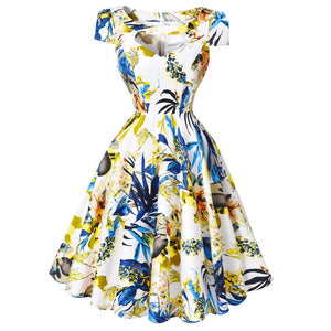 2016 New Arrival Womens Cocktail Dresses Summer Style Printed Retro Vintage 50s Casual Rockabilly Dress For Party BP08