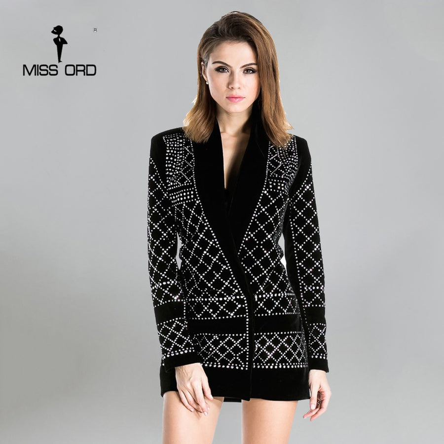 Missord 2017 Sexy V-neck long-sleeved geometric studded velvet blazer dress FT3612 Rhinestone