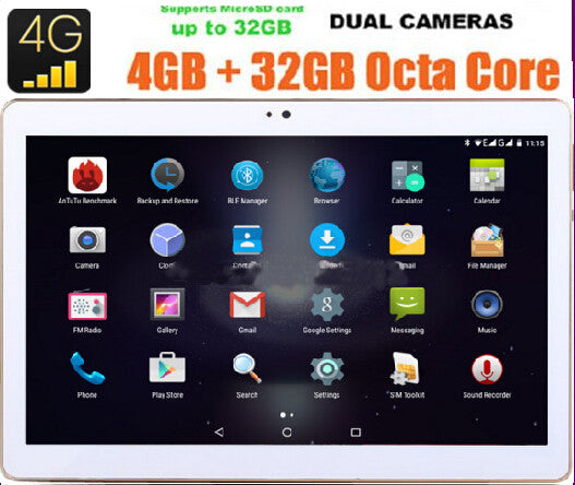 10 inch 3G 4G Tablet Octa Core 4GB RAM 32GB ROM IPS 1280*800 Dual Cameras Android 5.1 10.1 Tablet+Gifts