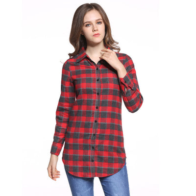 Hot Sale Women Blouses Long Shirts Single Breasted Plaid Cotton Shirt Wild Casual Streetwear Shirt Women Plus Size Blouse BE66