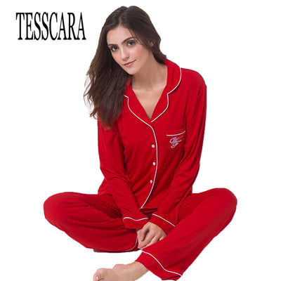 TESSCARA 2017 New Spring Autumn Women Clothing Full Sleeves Pajama Sets Cotton Sleep & lounge Casual Sleepwear Nightgowns