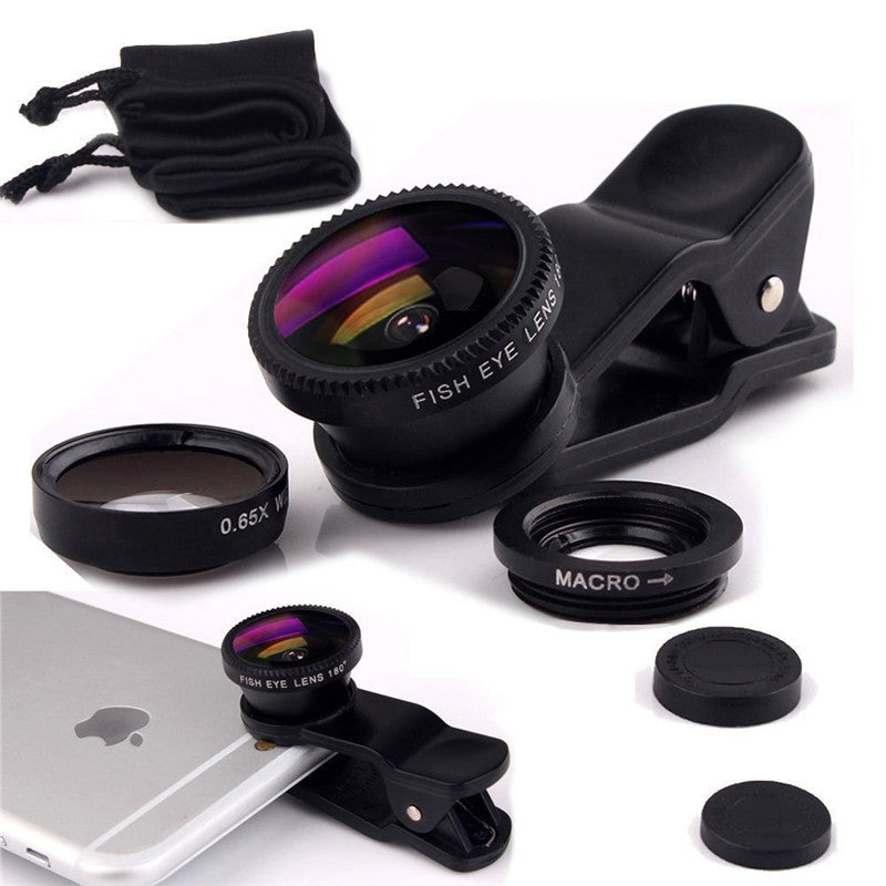 Mini Stylus Fisheye Macro Wide Angle 3 in 1 Universal Clip Phone Camera Lenses For Samsung LG HTC HTC xiaomi iphone 5 5s 6 6s