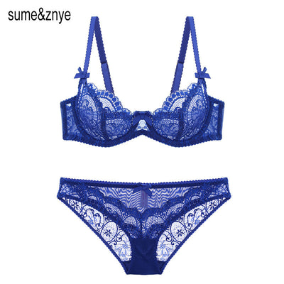 European Sexy Lace women Push Up Bra Sets transparent Bra And Panty French Romantic Intimate Underwear Set temptation girl bra