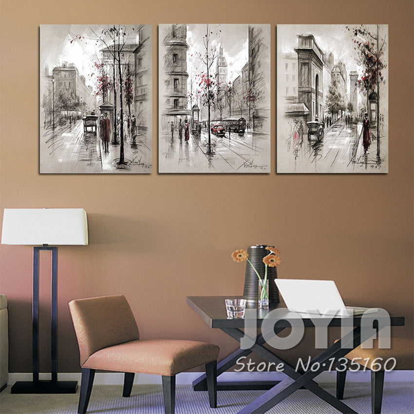 3 Panel Canvas Painting Wall Art Abstract City Street Landscape Decorative Pictures For Living Room Bedroom Oil Prints No Frame
